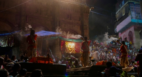 Evening ceremony by the Ganges, Varanasi