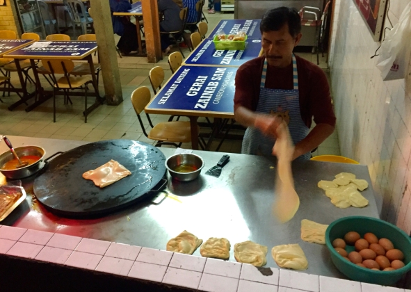Roti canai in progress